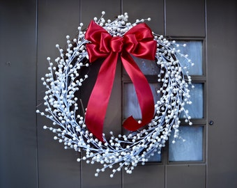 2017 Ivory Berry Wreath - Christmas Wreath - Holiday Wreath - Red Bow - Grapevine Wreath - Wreaths - White Christmas