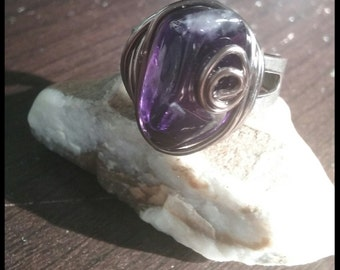 Purple Amethyst Wire wrapped Ring