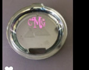Monogram vinyl decal for lid