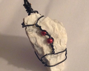 ON SALE Wire Wrapped Howlite Rough Stone Necklace