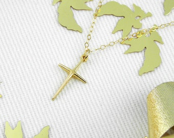 Gold Cross Necklace, Dainty Gold Necklace, Delicate Layering Necklace, Simple Charm, gold Cross Necklace Christian cross gift for women