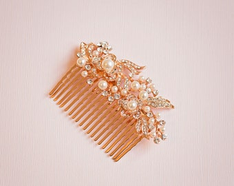 Bridal hair comb, Bridal Headpiece, Crystal leaf hair comb, Gold hair comb, Gold Hair vine, Gold headpiece, Rose gold hair comb