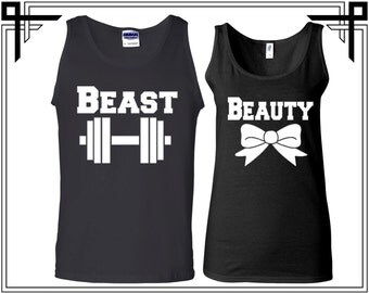 Beauty And The Beast Workout Tank Couple Tank Top Party Tanks Couple Tops Love Top Anniversary and Valentines Gifts - Price for 2 Tops