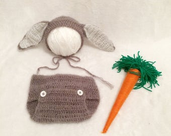 Crochet set bunny style hat+cover nappy.Potography props