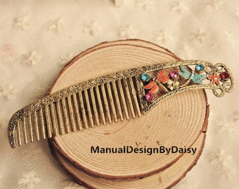Vintage nostalgia Butterfly ting Colored glaze Carve patterns hair comb,bronze hair comb,christmas gift