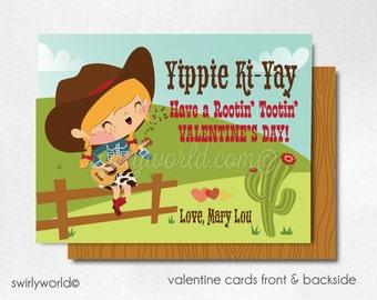 Retro Cowgirl Valentine's Day Cards, Western Cowgirl Valentines for Girls, 1950s Valentine Cards, Classroom Valentines DI-VAL84
