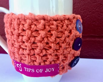 Textured Orange Cup Cozy; Hand Knit Cup Warmer with Buttons