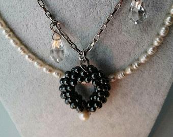 Freshwater Pearl Malakette with rock crystal and Hematite gift idea