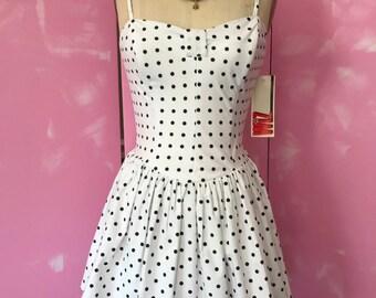80's dress, peplum dress, polka dot dress, white polka dot dress, 80's party dress, strapless dress, fab 208 nyc, revycled, vintage dress