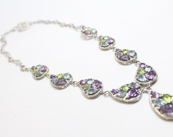 29.13ctw Pear Shaped Amethyst, Blue Topaz, and Peridot Necklace 925 Sterling Silver
