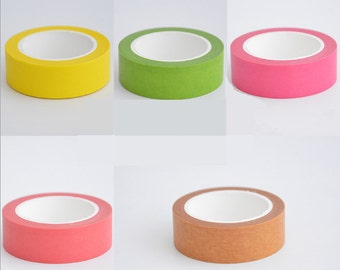 Bright yellow/green/orange/red/pink washi Deco Tape - 15mm X 10 metres