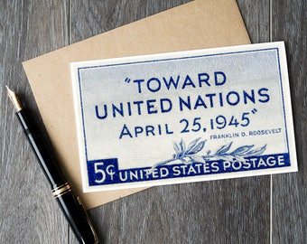 United Nations history, history teacher retirement card, WW2 fathers day card, US christmas stamp card, postage stamp art cards