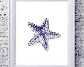 Printable Starfish Decor, Nautical Bathroom Digital Print, Beach Bathroom Decor, Print Beach Ocean, Nautical Wall Art, Nautical Wall Decor