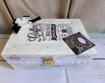 Wooden shabby romantic spirit for coffee capsules box
