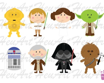 NEW Star Wars Standard Clipart, Star Wars Digital Clipart, Star Wars Artwork, Star Wars Graphic, Star Wars Stickers, Star Wars Printables