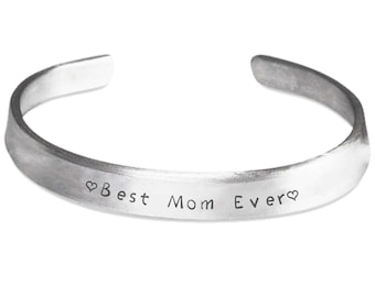BEST MOM EVER! Bangle Cuff Gorgeous Silver Cuff Bracelet Let's Mom Know How Much You Care! Fully Adjustable. Made in America!