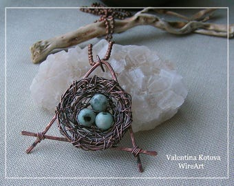 Copper wire bird nest pendant, copper  bird nest necklace ,wire wrapped yewelry, handmade wire pendant
