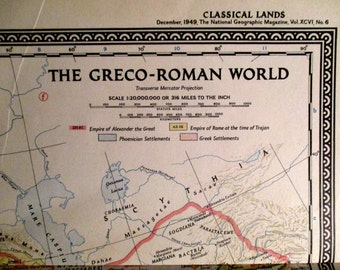 """1949 National Geographic """"Classical Lands of the Mediterranean"""" Map"""