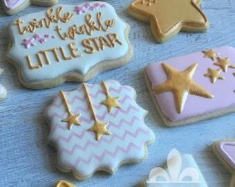1 Dozen Twinkle Twinkle Little Star Birthday Sugar Cookies