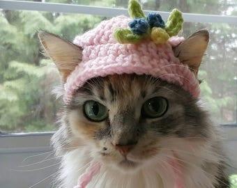 Hats for Cats, Valentine's Day Cat Hat, Pet Hat, Pet Clothes, Small Dog Clothes, Small Dog Hat, Crocheted Cat Hat, Flower Hat, Cat Costume