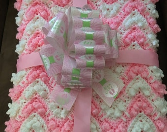 LM Crocheted Baby Girl or Baby Boy Baby Blanket