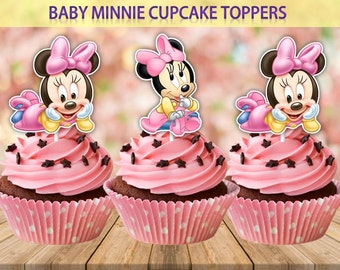 Baby Minnie Mouse Cupcake Toppers, Printable, Baby Minnie Mouse Party, Baby Party, Adorable Cupcake Toppers, Digital Printable