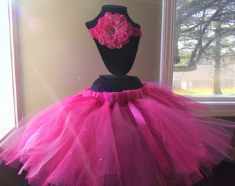 Pink Birthday Tutu, Glitter Tutu, birthday outfit, Princess, flower headband, Birthday tutu, pink tutu outfit, baby tutu skirt, newborn