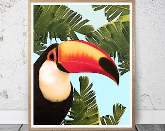 Toucan Bird Print, Toucan Wall Art, Toucan Large Printable Poster,Colorful Bird, Nursery Decor, Kids Room Decor, Toucan Art Print