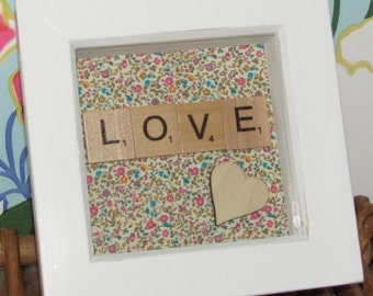 Little Liberty Print Scrabble love picture, vallentines, mothers day, birthday, anniversary