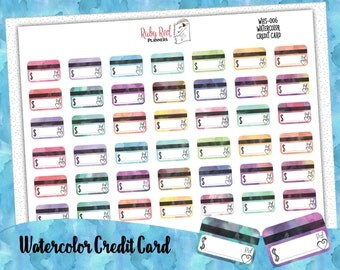 Credit Card Stickers - Budget Stickers - Watercolor Stickers - Bill Due Stickers - Erin Condren Planner Stickers - Happy Planner WHS-006