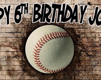 Baseball Personalized Birthday Banner, Baseball Party Theme