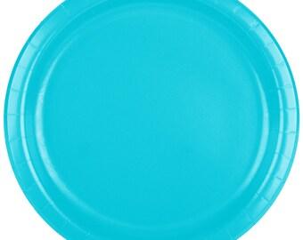 "25 (7"") Bermuda Blue Round Paper Plate, Wedding Supplies, Wedding, Wedding Decor, Plastic Plates, Party Supplies, Paper Plates, Wedding"