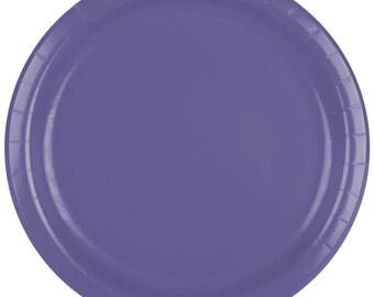 """25 (7"""") Purple Round Paper Plate, Wedding Supplies, Wedding, Wedding Decor, Plastic Plates, Party Supplies, Paper Plates, Wedding"""