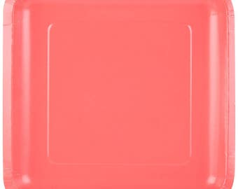 "25 (9"") Coral Square Paper Plate, Wedding Supplies, Wedding, Wedding Decor, Party Supplies, Party, Paper Plate, Tableware"