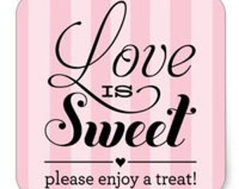 "24 PCS ""Love Is Sweet Please Enjoy A Treat!"" Sticker, Seals, Scrapbook Supplies, Stationary, Paper, Paper Stickers, Stickers, Paper Supplies"