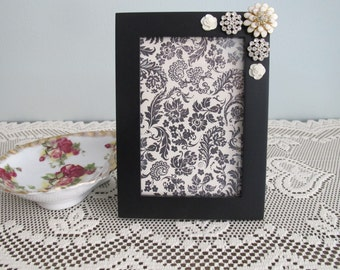Ivory and Rhinestone Jeweled Picture Frame
