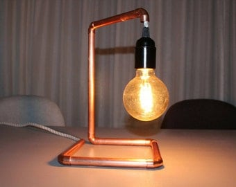 Copper lamp with iron cord - industrial - mood lighting