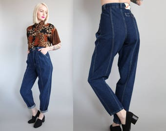 "Vtg 90s Dark Wash Seamed Mom Jeans 25"" Waist sz XS/S"