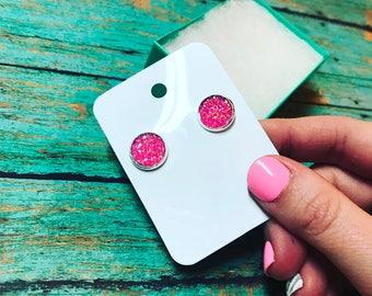 12 mm Hot Pink Hypoallergenic Earrings