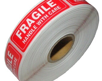 """1 Roll Fragile Handle With Care Shipping Sticker, 1""""x3"""", 1000 Per Roll"""