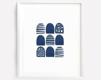 Indigo Wall Art, Abstract Watercolor Art, Navy Wall Art, Nursery Wall Art, Boy Nursery Art, Watercolor Print, Indigo Print, Geometric Print