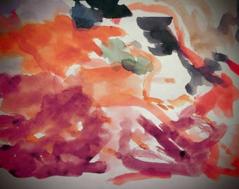 Painting with watercolor paints. Red.
