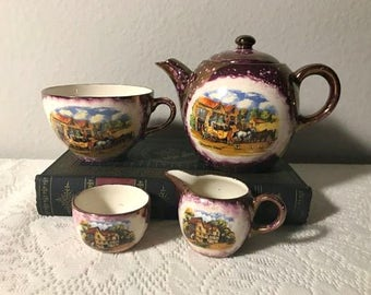 Vintage Gray's Pottery Dickens Day Child's Tea Set , Mottled Purple Luster Finish , Tea cup & Teapot , Stoke-On-Trent England
