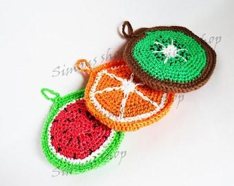 Nylon Dish Scrubbies Crochet Pot Scrubbers set of 2