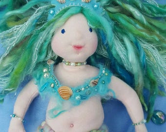 Waldorf Mermaid Doll, OOAK art doll, 40cm tall. Soft and Cuddly. Ideal gift for girls age 3-12