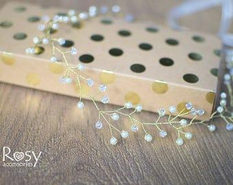 Gold diadem with crystals and ivory pearls, Gold diadem, Wedding hair vine, Crystal and pearl headpiece, Bridal hair halo, Wedding tiara