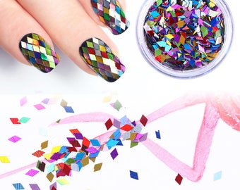Glitter Rhombus Geometric Diamond Rhomb Professional Grade Cosmetic Makeup Dry Glitter For Nail Art Trendy Fashion