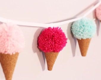 Ice Cream Cone Banner, Ice Cream Garland, Icecream Slinger, Icecream Baby Back Drop, Boy or Girl Nursery, Photo Background, First Birthday