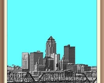 Des Moines Iowa    Skyline Poster