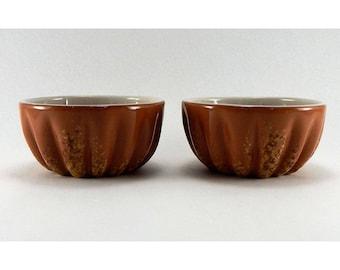 2 Vintage Frankoma USA Fruit / Dessert Fluted Bowls - Glazed Pottery - Frankoma Speckled Brown pottery